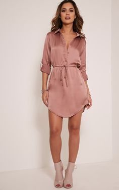 Amanda Mink Tie Waist Satin Shirt Dress Image 1
