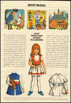1970s  Paper Doll Betsy McCall Colonial Williamsburg