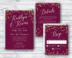 Maroon Gold Wedding Invitation Set Wine by NorthwestDesignCo