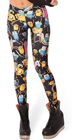 Adventure Time Montage Black Leggings new women Digital print Galaxy Pants PLUS  #KING