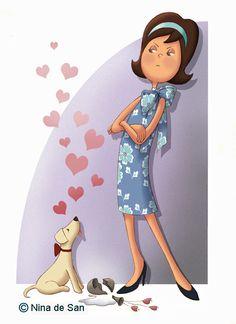quenalbertini: by Nina de San Illustration Mignonne, Dog Illustration, Illustrations, I Love Dogs, Puppy Love, Marquis, Zentangle, Art Mignon, Creation Photo