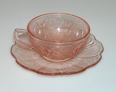 Jeanette Glass Cherry Blossom Cup & Saucer Childs Tea Set Pink Depression
