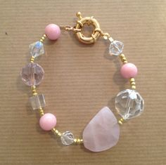 Pink Stone Beaded White and Gold Crystal Fashion Rose Bracelet with Gold Clasp 8.5 Inch