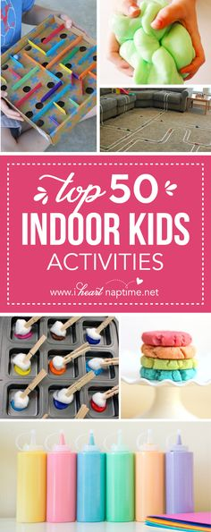 Top 50 Indoor Kids' Activities - being stuck indoors due to weather can be fun. for a few hours. But when the wiggles need to come out or your need something new to shake things up, we have 50 indoor kids' activities to bust those indoor blues. Indoor Activities For Kids, Craft Activities For Kids, Toddler Activities, Church Activities, Toddler Fun, Activity Ideas, Craft Ideas, Easy Crafts For Kids Fun, Projects For Kids