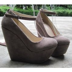 Graceful Gray Suede Round Closed Toe Super High Heel Wedges