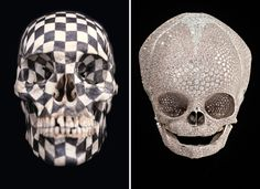 Damien Hirst and Gabriel Orozco, two conceptual artists, create two very different skulls Modern Art, Contemporary Art, Vanitas Vanitatum, Human Drawing, Damien Hirst, Art Themes, Skull Art, Kite, Installation Art