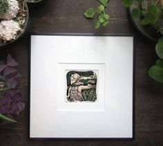 Girl With a Snake Mini Woodcut Relief Print Framed by MissyHeagle