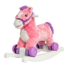 Rockin' Rider Candy 2-in-1 Pony.  Fun, fantastic pony for your little one Converts from rocking to rolling pony.  Safe, secure design.  Sings and speaks with sound effects.  Plush pony with durable plastic frame.  Recommended for ages 12 months and up. -- Julianna