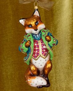 H8LHV Jay Strongwater Jubilee Fox Glass Christmas Ornament