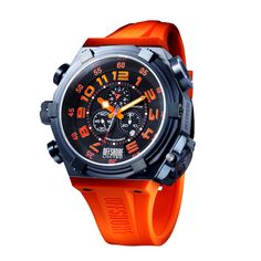 Model: Offshore Force 4 Orange 60mm  Movement: Analogue Quartz  Functions: Hours, Minutes, Seconds, Chronograph, Date, Day, Dual Time  Case: Stainless Steel  Bracelet: Rubber ( Caoutchouc )  Size: 60mm  Glass: Mineral