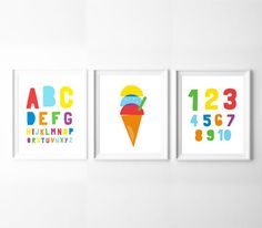 Nursery Decor Set of 3 Printables – Alphabet, Numbers, and Ice Cream. By BabyCo on Etsy