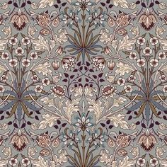 As part of the House of Hackney x William Morris collection, the 'Hyacinth' print is reimagined and remastered. The Art Nouveau design features plant formations block-printed onto paper - a William Morris signature. Print Wallpaper, Home Wallpaper, Wallpaper Roll, Pattern Wallpaper, William Morris Wallpaper, Morris Wallpapers, William Morris Tapet, Motif Art Deco, Art Nouveau Design