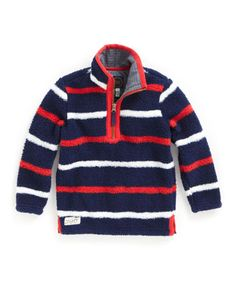 Joules JNR WOOZLE Boys Fleece, Navy Stripe. Made with mud magnets, mums and washing machines in mind. Light, soft and extremely hardwearing, an all-year-round favourite. Great under a waterproof jacket or over a t-shirt.
