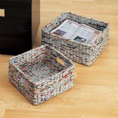 Amazon.com: Recycled Newspaper Baskets Set of 2: Home & Kitchen