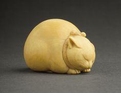sleeping cat netsuke, ivory, Kaigyokusai, Japan, mid to late 19th century