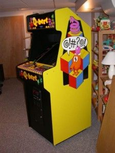 Qbert!  I LOVE THIS GAME- when I re-do the basement I am getting Q-Bert, Mrs. Pac-man and Donkey Kong.
