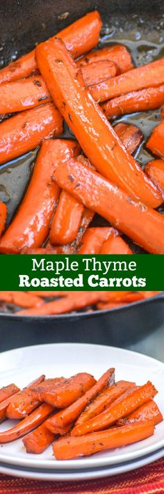 Maple Glazed Thyme Roasted Carrots | Do you like your vegetables? On the fence? Turn your veggies into something you love with these Maple Glazed Thyme Roasted Carrots. Tender roasted carrots are glazed with smooth maple syrup, sauteed with thyme leaves, and roasted to perfection. It's sure to be your go to side dish for any meal. | 4 Sons R Us