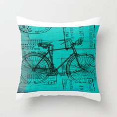 Bike Travel Throw Pillow by Fernando Vieira