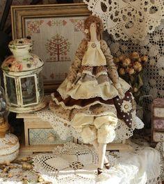 Купить Гвенаел интерьерная текстильная коллекционная кукла тильда ангел - бежевый, коричневый, куклы, кукла