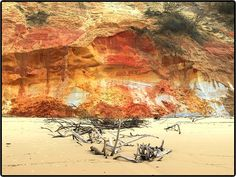 Rainbow beach queensland. Over 70 colors of sand can be seen on the beach
