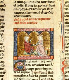 Lancelot and Guinevere, North-eastern France or Flanders (St Omer or Tournai), c. 1315-1325. (Arthurian manuscripts in the British Library: the French tradition)