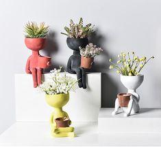Cute Plants Flower Pot Adorable Planter for Home Office Decor,A-Yellow Indoor Succulent Planter Head Vase Face Planter Resin Small Plant Pot Flower Pot