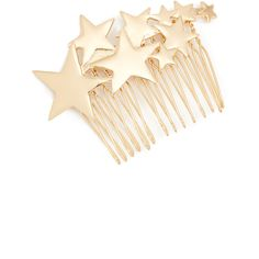 Kitsch Star Hair Comb ($15) ❤ liked on Polyvore featuring accessories, hair accessories, gold, gold hair comb, star hair accessories, gold comb, hair combs and gold hair accessories