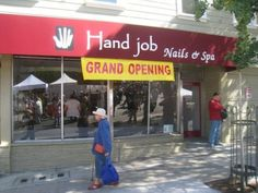 Funny pictures about Grand opening. Oh, and cool pics about Grand opening. Also, Grand opening. Funny Ads, Funny Signs, The Funny, Funny Headlines, Funny Humour, That's Hilarious, Funny Cartoons, Nail Salon And Spa, The Meta Picture
