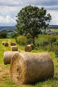 Looking towards Glaisdale from Egton, North Yorkshire at Harvest. Round hay bales are more difficult to handle but are more weather resistant.