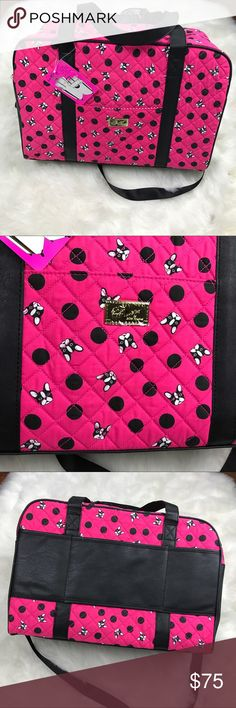Betsey Boston terrier pink weekender bag New with tags . Frenchie dog faces and polka dots . Bright pink black and white . Inside pockets and zipper pocket . Fits over your luggage carrier bull dog terrier Boston frenxhie Betsey Johnson Bags