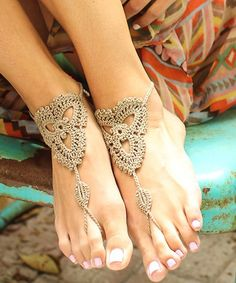 Crochet Barefoot Sandals, perfect for a sandy beach wedding ceremony