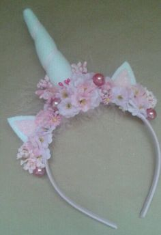 Handmade Made Unicorn Headband. ready to send. Horn is made from felt and pink and white silk flowers as well as feathers To fit toddler/child/adult Thank you x   eBay!