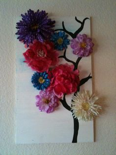"3d wall art! I tried painting the cherry blossoms from ""crafty home decor"" board....didnt work out that well, so i hot glued fake flowers instead!"