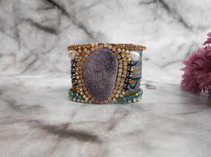 Purple Agate Cuff Bracelet Bohemian Bracelet Boho by JewelryLanChe #purple #violet #boho #bracelet #bohemian #jewelry #bracelet