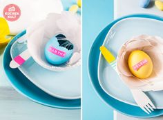 Bunte Ostereier mit Namensetiketten, #colored #easter #eggs with #labels