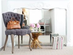 Desperately wanting this tufted chair, mirror and side table. I need it all. Already have a larger version of that bag! Seriously, that chair!