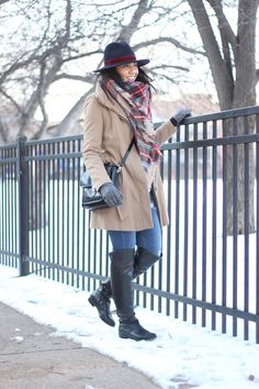 blanket scarf, plaid scarf, over the knee boots, winter fashion, winter layers, fedora hat, bundled up, camel coat