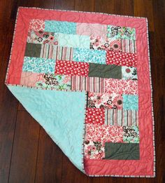 """Sale Riley Blake Dainty Blossoms Baby/Toddler Girl Quilt with Minky Backing--39"""" x 47"""". $109.00, via Etsy."""