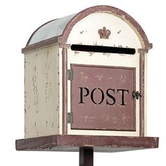 """Vintage Wedding Mailbox On Stand White And Brown. Cover post with the word """"cards"""""""