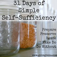 Check out these self-sufficient tips! 31 Days of Simple Self-sufficiency. I'll be exploring preparing, preserving, reusing, making do, and doing without everyday in October. Survival Prepping, Emergency Preparedness, Survival Skills, Survival School, Urban Survival, Survival Gear, Cuisine Diverse, Saving Ideas, Sustainable Living