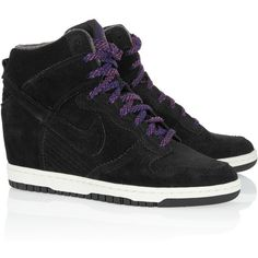 Nike Dunk Sky Hi suede wedge sneakers ($76) ❤ liked on Polyvore featuring shoes, sneakers, nike, zapatos, black, suede wedge sneakers, black wedge sneakers, black suede shoes, black hidden wedge sneakers and black trainers