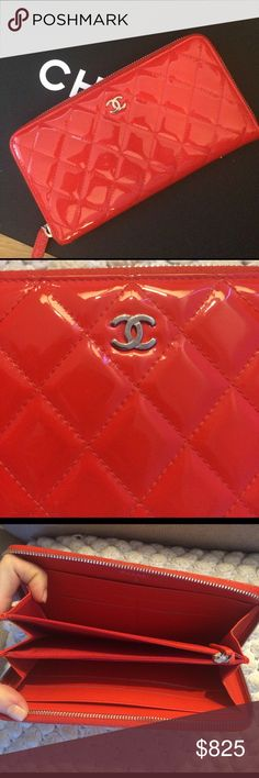 Chanel wallet.  7DAY LISTING!!!🔥 Hi Poshers!  I'm hesitantly listing this Chanel wallet as I love it but would like the funds to go towards another bag. I purchased this wallet from Neiman Marcus Chanel in Las Vegas. It's a stunning red patent leather. In flawless condition-one faint mark on back-pictured This wallet is 100% authentic. I cannot locate the authenticity card but. Am still looking. I have had an offer from a consignor to buy this outright but wanted to list for a week on posh…