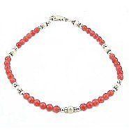 """Coral Quartz, Pearlized Glass & Sterling Silver Anklet - 9"""" Timeless Treasures. $25.99. Satisfaction Guaranteed. Available Lengths: 9"""" - 12"""""""