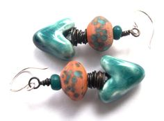 Scorched Earth Turquoise Blue Hearts, Coral and Turquoise Lampwork Beads, Sterling Silver Ear Wires Dangle Earrings
