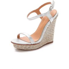 Badgley Mischka Glenna Espadrille Wedges (200 CAD) ❤ liked on Polyvore featuring shoes, sandals, wedges, heels, silver, leather sandals, wedges shoes, platform heel sandals, metallic wedge sandals and wedge sandals