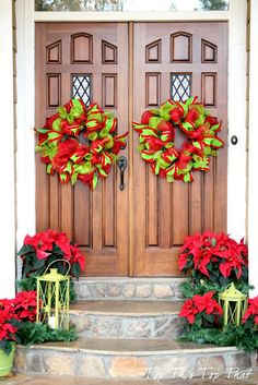 Bright red and green wreaths. Top This Top That: 2012 Holiday Home Tour