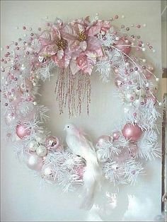 Exquisite pink and white frost wreath