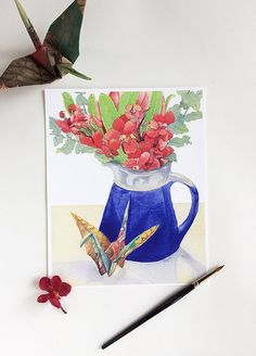 On folded wings - Print from the watercolour still-life of red orchid flowers, blue jag & paper crane.  Painted by Australian artist Zoya Makarova