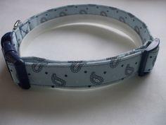 Handmade Cotton Dog Collar - Blue Paisley by WalkingTheDog on Etsy