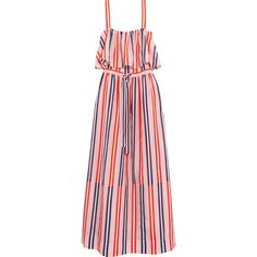 Diane von Furstenberg Striped cotton and silk-blend maxi dress ($270) ❤ liked on Polyvore featuring dresses, drawstring dress, colorful dresses, pastel pink dress, striped dress and striped maxi dress